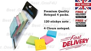 STICKY NOTES PAD SQUARES REMINDERS REMOVABLE BOOKS 76MM X 76MM – (4 PACKS OF 120