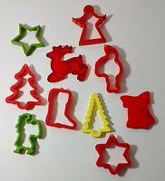 Vintage Christmas Cookie Cutters Lot of 10 Santa Holiday w/ Red HRM Reindeer