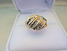 Antique Russian Style Engagement 10k Yellow GOLD 24Baguette Natural DIAMOND RING