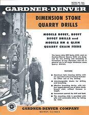 Equipment Brochure - Gardner-Denver - Stone Quarry Drill - c1962 (E3557)