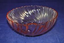 VINTAGE ANTIQUE ART DECO PINK SWIRL DEPRESSION GLASS SERVING BOWL C. 1930's