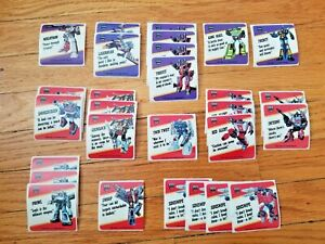 Transformers Action Cards lot of stickers, Megatron, Grimlock, and many more