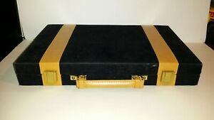 Backgammon Set in Black Velour Case with Butterscotch & Cream Counters