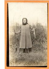 Real Photo Postcard RPPC - Hunting Female Hunter with Rifle and Rabbit
