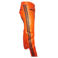 Men's Real Leather Cowhide Bikers Orange Leather Pants With Contrast Panels