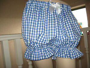Festival  Pantaloons Bloomers Adult  baby Pink Blue Check Sissy Plus 24,26,28,30