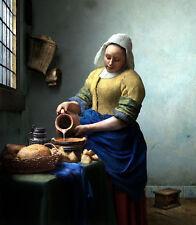 "Oil painting Milkmaid for breakfast with milk bread by Jan Vermeer canvas 36"""