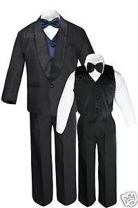 Boy Satin Shawl Lapel Suit Tuxedos EXTRA Navy Blue Bow Tie Vest Set Outfits S-18