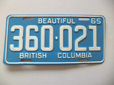 1965 BEAUTIFUL BRITISH COLUMBIA License Plate Tag #360-021 Expired Canada Plate