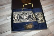 New Luxury Towels 2PCS with Versace symbol 100% Cotton Blue with Gift Box