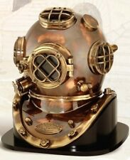 Antique Finish Mark V Dive Helmet & Wooden Base, 18""