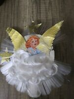 """Vintage Christmas Angel Tree Topper With Angel Hair approx 7"""" wide 8"""" tall"""
