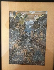 UBUD Indonesia Balinese Painting by Bali Artist Signed Original in Silk Matte