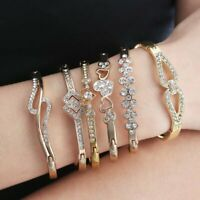 Charm Stainless Steel Gold/Silver Crystal Cuff Bracelet Bangle Women Wedding