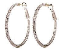 "Swarovski Elements Crystal 1 1/2"" Baha Hoop Earrings Rhodium Authentic New 7213z"