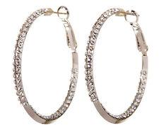 "Swarovski Elements Crystal 1 1/2"" Baha Hoop Pierced Earrings Rhodium New 7213z"