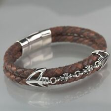 Silver arrow chain brown chocolate hand weave leather bangle bracelet M