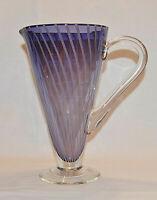 Vintage Hand Blown Purple Art Glass Pitcher with Swirl Pattern! Very Nice!