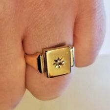 Diamond Set Gold Signet Ring in 9ct Gold. Full Hallmarks. FLASH SALE! (A52)