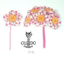 Set 12 Mazzetto 6 fiori quadri rosa decorazione  art 57769