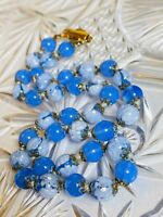 VTG Venetian Millefiori Glass Necklace Periwinkle Art Deco Filigree Choker