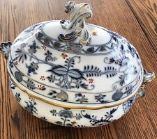 Exquisite-Antique Meissen-German Porcelain -Blue Onion Rich Oval Tureen/Lid