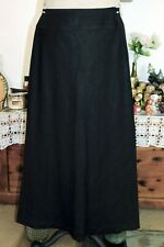 J JILL BLACK LINEN LONG A-LINE SKIRT SZ 6