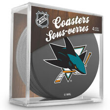 SAN JOSE SHARKS Hockey TEAM LOGO 4 COASTERS SET NEW Made from Actual Puck NHL