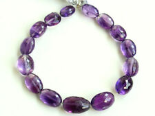 Natural African Amethyst Faceted Oval Nugget Semi Precious Gemstone Beads