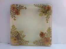 70's Vintage Lucite Flowers And Ferns Resin Acrylic Trivet Footed Retro