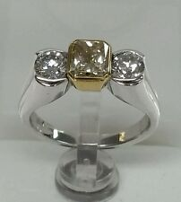 14k white gold engagement 1.93cttw ,1.16ct fancy yellow diamond 0.75ct side dia.