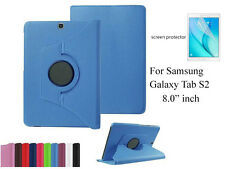 Screen Protector/360°Rotate PU Leather case for Samsung Galaxy Tab S2 8.0""