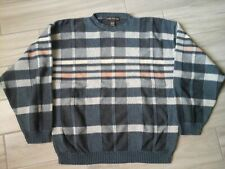 Liberty Sweaters Men Gray Plaid Long Sleeve Crewneck Pullover Sweater     Size L