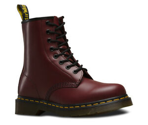 Men's Dr Martens 1460 8 Eyelet Cherry Red Smooth Leather Boots DM Doc Martens