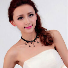 Charm Women Victorian Style Black Lace Beads Chain Tassel Choker Collar Necklace