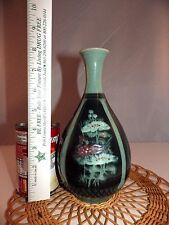 Korean Asian Pottery Celadon Green Crackle Ceramic Floral Signed Vase #1
