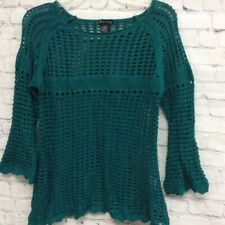 New Directions Womens Pullover Sweater Green 3/4 Sleeve Scoop Lined Petites PL