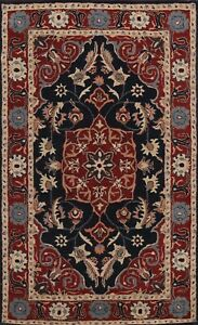 Navy Blue Floral Traditional Oriental Home Decor Area Rug Hand-Tufted Wool 5'x8'