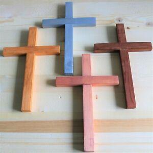 """Wall Cross Wood 8"""" Silver Gold Copper Handmade USA Decor Christ Cross Cruz Plain"""