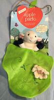 Apple Park Organic Puppet Blankie Lamb Green Velour Organic Cotton