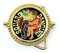 Square Dancing Round Belt Buckle Goldtone
