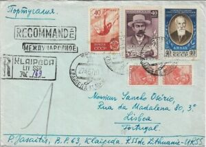 1957 - Russia / Lithuania - Registered Cover - Klaipeda to Portugal