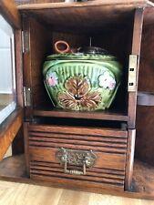 New listing 1900's Vintage Antique English Victorian Oak Tobacco Corner Cabinet Case W/ Jar