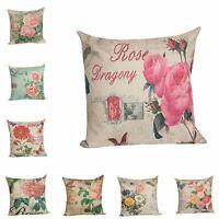 Vintage Linen Cotton Cushion Cover Throw Pillow Case Sofa Home Decor Square