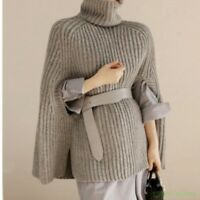 Autumn Chic Women Collared Knit Sweater Cape Loose Cloak Coats A Line Bat Sleeve
