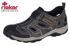 Herren Slipper Rieker Schuhe Grau Klett Trekking Sandale Leder 08075-03 NEU
