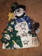 Blue Sky Heather Goldminc Snowman w/Christmas Tree Tealight Holder