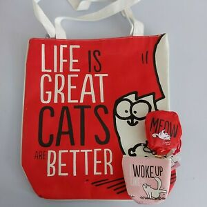 simon's cat themed zipped tote bag foldable shopping bag and coin purse bundle