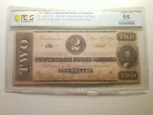 T-54 1862 $2 TWO DOLLARS CSA CONFEDERATE STATES OF AMERICA CURRENCY NOTE