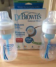 Dr Brown's botellas de cuello ancho de flujo natural 2 Pack cólico Bebé Alimentación